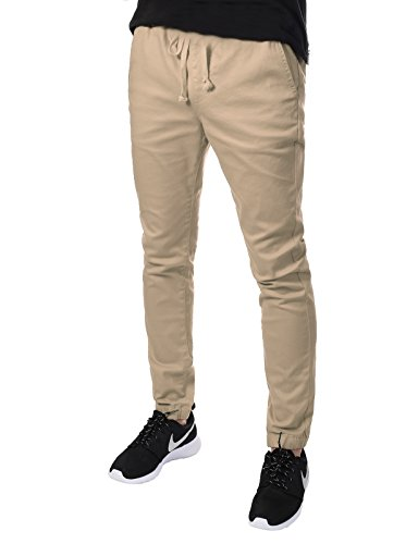 JD Apparel Men's Skinny Fit Harem Joggers Large Khaki by JD Apparel (Image #4)