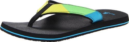 Sanuk Men's Block Party Flip Flop,Lime/Turquoise,10 M US
