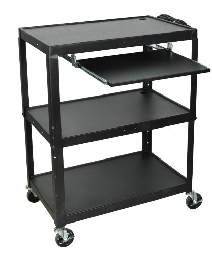 (LUXOR AVJ42XLKB A/V Cart with Pullout Keyboard Shelf, Extra Wide, Adjustable Height, Steel)
