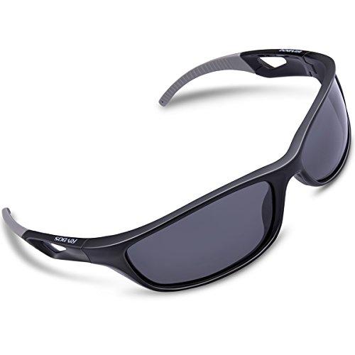RIVBOS Polarized Sports Sunglasses Driving Sun Glasses for Men Women Tr 90 Unbreakable Frame for Cycling Baseball Running Rb831 (Black&Grey)