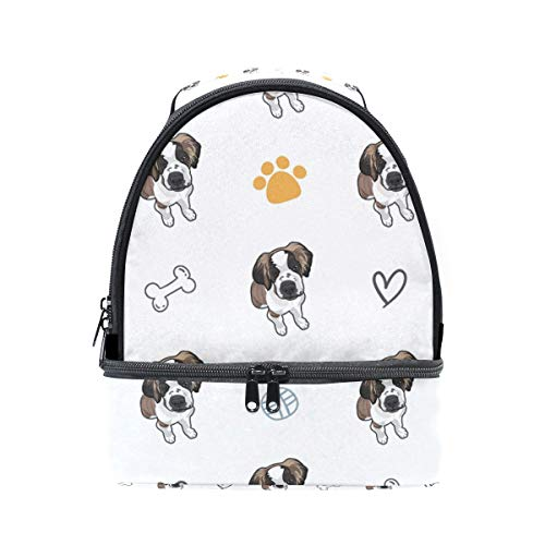 Lunch Bag Saint Bernard Puppy Dog Insulated Dual Compartment Lunch Bag Lunch Box