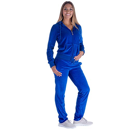 Urimoser Womens Velour Tracksuit Set Soft Sports Zip Up Hoodie and Sweat Pants 2 Pieces Sweatsuit (Royal, 2XL)