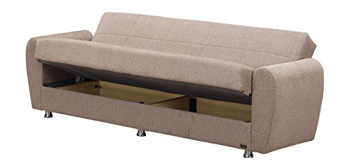 """BEYAN Colorado Collection Modern Convertible Folding Sofa Bed with Storage Space, Includes 2 Pillows, Light Brown - FUNCTIONAL DESIGN  & PRACTICAL USE: The Folding Convertible Sofa Bed Measures 87""""L X 31""""D X 30""""H And When Folded; The Sofa Bed Expands To 45"""" X 75"""" Arrives with Only Minimal Assembly Required SIT, STORE & SLEEP: Comfortably Seating Three, the Convertible Sofa Bed Folds Into a Fully Flat Position Without Any Hassle Thanks to Click-Clack Technology. The Storage Space Can Be Found Underneath the Seats. STURDY CONSTRUCTION: Made From Strong Wood and Upholstered with Chenille Fabric, the Convertible Sofa Bed Also Features Coil Spring Foam and Metal Constructions Creating a Long Lasting Sofa Bed - sofas-couches, living-room-furniture, living-room - 41oSAMyqV9L -"""