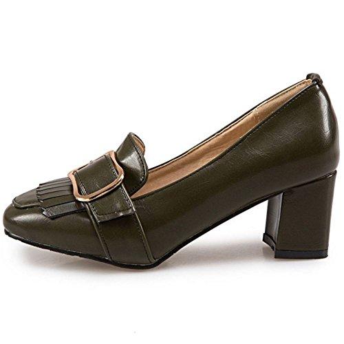 Chaussures Talon Femmes vert 3 Brogue Bloc Moyen Zanpa HqPTOxx