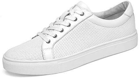 男性のスケート靴のためのアスレチックスニーカー本革通気性の低トップあきラウンドトゥカジュアル耐摩耗滑り止めのレースアップ YueB HAC (Color : 白, サイズ : 26 CM)