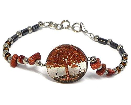 Goldstone Chip Bracelet - Mia Jewel Shop Tree of Life Crushed Chip Stone Round Acrylic Beaded Chip Stone Hematite Bracelet (Brown Goldstone)