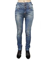 Eunina Women's High Waist Multi 3-Button Wash Stretch Denim Skinny Jean