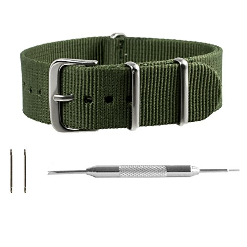 Benchmark Straps 18mm Army Green NATO Watchband + Spring Bar Removal Tool (More Sizes & Colors Available)