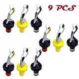 Oopsu 9 PCS Joie Expanding Bottle Stopper,Flip Top Wine Bottle Stopper,Bottle Stopper,Creates Airtight Seal,Wine & Bar,Three colors:Black & Red,Black & White,Yellow & White