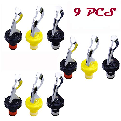 Oopsu 9 PCS Joie Expanding Bottle Stopper?Flip Top Wine Bottle Stopper?Bottle Stopper?Creates Airtight Seal?Wine & Bar?Three colors?Black & Red?Black & White?Yellow & White