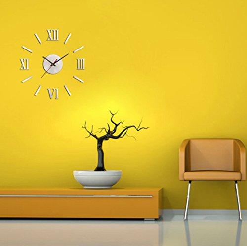 Metallic Bear Grass (Hot Sale! Mirror Wall Clock Metallic 3D Wall Clocks Modern DIY Design Decorative Stickers Roman Numeral Analog Quartz Timer New Year (Diameter:9.8cm, Silver))