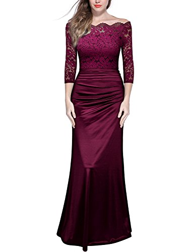 Miusol Women's Retro Off Shouler Floral Lace Ruched Bridesmaid Maxi Dress