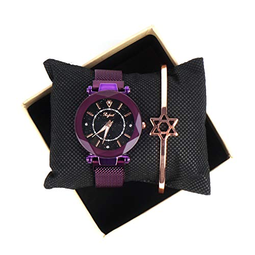 Valentine's Day Gifts Ladies Fashion Wrist Watch Casual Crystal Quartz Star Dial Watch with Purple Magnetic mesh Belt and Bracelet - Watch Crystal Quartz Ladies