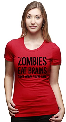Crazy Dog TShirts - Womens Zombies Eat Brains So You're Safe Funny Zombie T Shirt Living Dead Outbreak Tee - Camiseta Para Mujer Rojo
