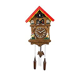 ZJDU Quartz Cuckoo Clock Black Forest House, with Music Adjustable Volume,Night Sensor, Real Wood,Alarm on Every Hour,Romannumerals