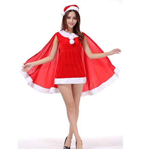 Cocktail Bunny Hat Costumes (NOMENI Christmas Party Dress Christmas hats Set Bunny Costumes Uniforms Temptation (Red))