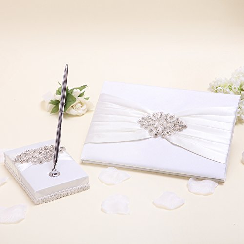 KateMelon Ivory Luxe Crystal Wedding Guest Book and Pen Set by KateMelon