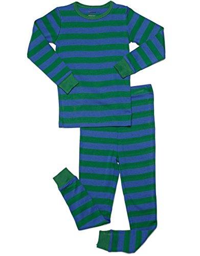 Boys Cotton Pjs (Leveret Striped 2 Piece Pajama Set 100% Cotton (10 Years, Blue &)