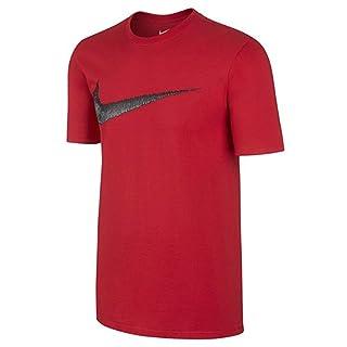 NIKE Sportswear Men's Hangtag Swoosh Tee, Dark Grey Heather/White, Large