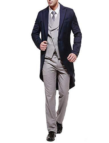 Lilis Mens 3 Piece Tuxedos Slim Fit Tailcoat Wedding Suit Outfits(Jackets+Vest+Trousers) ()