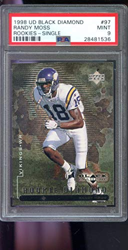 1998 Upper Deck UD Black Diamond Single #97 Randy Moss ROOKIE RC NFL MINT PSA 9 Graded Football Card (Diamond Collection Baseball Box)