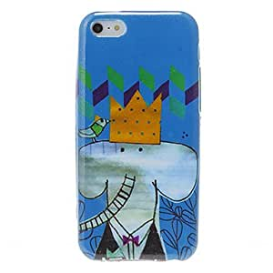 Buy Cartoon Style Elephant King Pattern Shimmering TPU Case for iPhone 5C