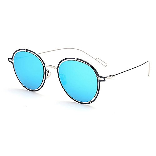 Femmes de par Protection Couleur bordée Plage en la UV Soleil Conduite de Les légères Les Lunettes voyageant de Ultra métal UV Bleu Wenjack Plein air la pour Z5xwqzO