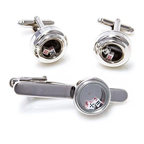 MRCUFF Dice Die Craps Really Moves Cufflinks Pair of Cufflinks & Tie Bar Clip in Presentation Gift Box