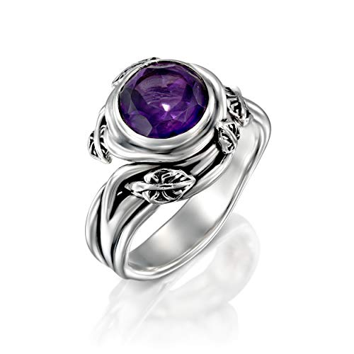 PZ Paz Creations 1.5 ct Amethyst Gemstone .925 Sterling Silver Leaf Ring (9)