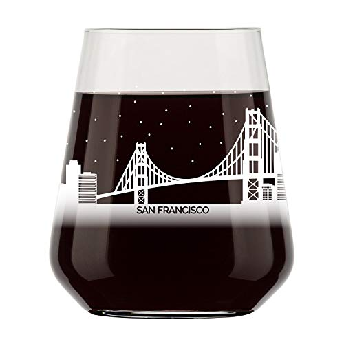 (San Francisco Skyline Stemless Wine Glass- Cool Frisco Souvenir or gift for traveler- Nostalgic Cityscape Souvenirs- Dishwasher Safe, Non-Toxic, Organic Ink Printed in USA)