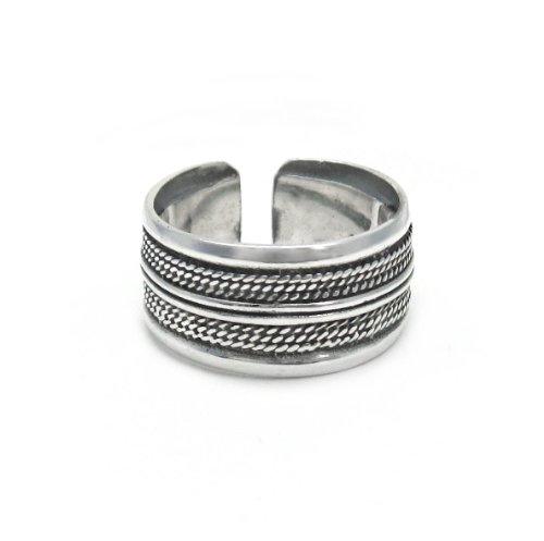 [Sterling Silver Stripe Twist Rope Band Adjustable Thumb Ring] (Rope Stripe Ring)