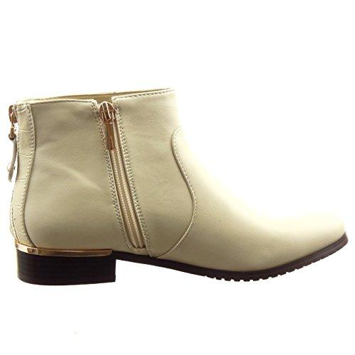 Sopily - damen Mode Schuhe Stiefeletten Reitstiefel - Kavalier Low boots Reißverschluss Reißverschluss Schlangenhaut - Beige