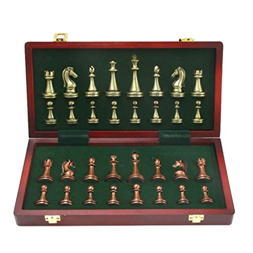 Jiji Chess Metal Glossy Bronze and Brass Chess Pieces Solid Wooden Folding Chess Board High Grade Professional Chess Games Set Chess Set