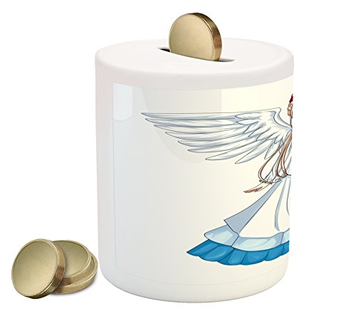 Ambesonne Anime Piggy Bank, Cartoon Illustration of Cute Angel Wings and Flowers Fairytale Japanese Manga Print, Printed Ceramic Coin Bank Money Box for Cash Saving, White Blue