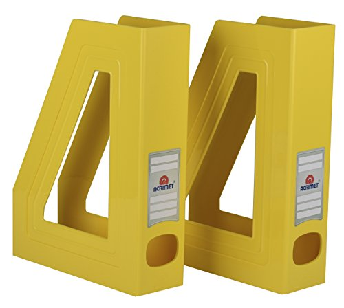 Acrimet Magazine File Holder (Yellow Color) (2 Pack)