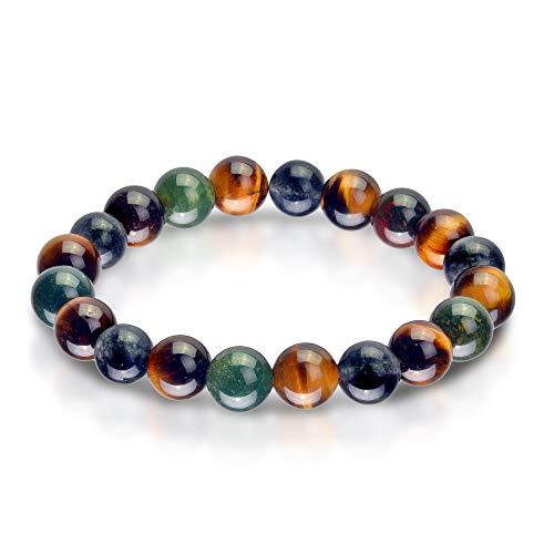 Triple Stone Ultimate Physic Abilities Bracelet - Metaphysical Bracelet- Spiritual Bracelets - Tiger Eye - Blood Stone - Iolite - Supernatural stone Bead Bracelet (10mm) ()