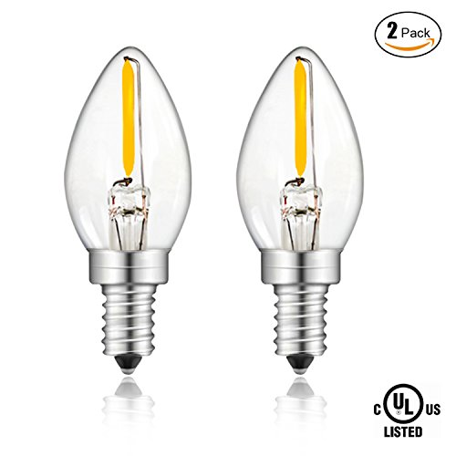 2-Pack SUNMEG C7 LED Candelabra Bulb, Salt Lamp light Bulbs, 0.6W Equivalent to 12w Incandescent Bulb, 75 Lumen, E12 Candelabra Base Night Light, Warm White 2700K (2 Light Candelabra Lamp)