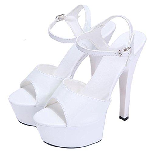 tacco Sandali per bianco Impermeabile Modello spessi 15cm alti donne Llp alto Tacchi le Piattaforma Tacchi 4xXZPBX