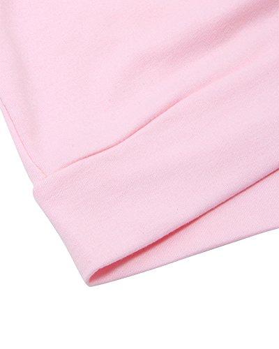 Mujer Manga Larga Cuello Redondo Pull-Over Blusa Lazada Perforada Sudadera Pink