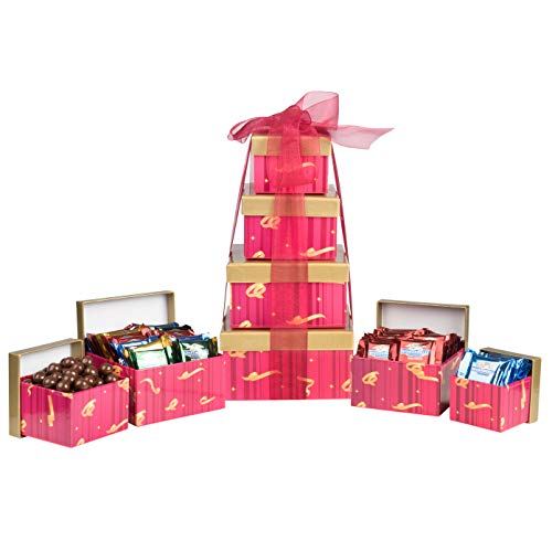 (Ghirardelli 5-Tier Tower Holiday Chocolate Gift Set, Red Festive, 35.5 Ounce)