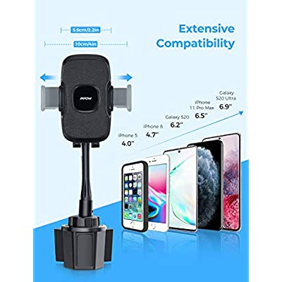 Mpow Cup Holder Phone Mount, Upgraded Cup Phone Holder for Car, Expandable Base Cup Phone Holder, Flexible Gooseneck Cell Phone Cup Holder Compatible with iPhone 11 Pro MAX/XS MAX/XR/X/8/7/6 Plus etc