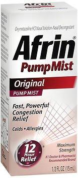 Afrin Pump Mist 12 Hour Relief, Original, 0.5 fl oz (Pack of 2)