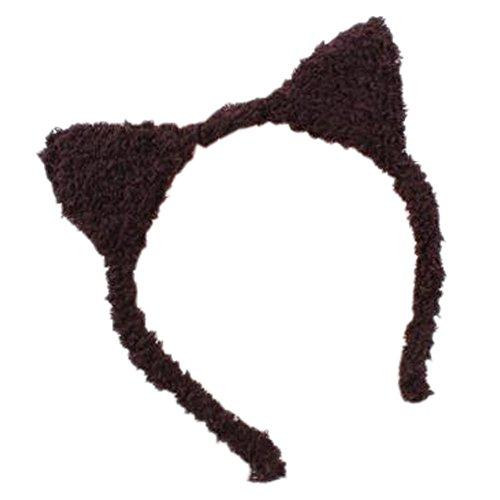 [Girls Lovely Plush Cat Ears Hairband Headband Sweet Hair Hoop Hair Accessories, Dark Brown] (Brown Cat Ears)
