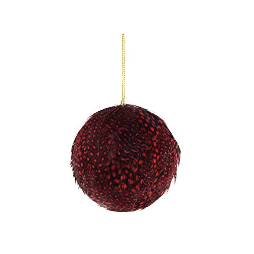 Feather Christmas Ornaments (ZUCKER Large Red Feather Christmas Ornament-Xmas Balls Fall Decor)