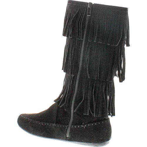 Voor Altijd Link Women Candice-48 Five Tier Faux Suede Fringe Boots Zwart