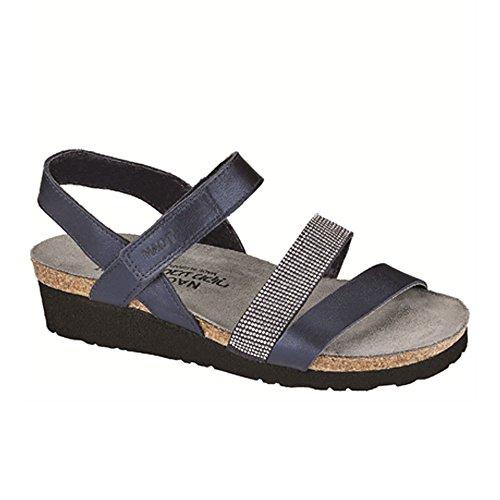 NAOT Footwear's Women Krista Backstrap Sandal Polar Sea Lthr/Dark Blue w/Nikel Rivets 7 M US