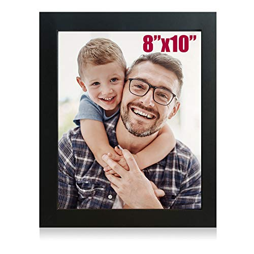 Jiabee 8x10 Wooden Picture Frame Stand & Hanging Couples Sets-1 Collage for Family, 1-Pack Wood Acrylic Photos Frames for Wall & Tabletop Black