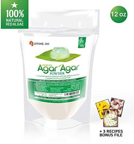 LIVING JIN Agar Agar Powder 12oz (or 4oz   28oz) : Vegetable Gelatin Powder Dietary Fiber [100% Natural Seaweed + Non GMO + VEGAN + VEGETARIAN + KOSHER + HALAL]