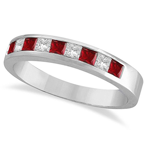 (Princess-Cut Channel-Set Diamond and Ruby Ring Band 14k White)