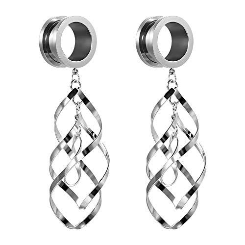 TBOSEN 2pcs Classic Double Linear Loops Design Twist Wave Dangling Ear Gauges for Women Girls (Design Ear Plug)